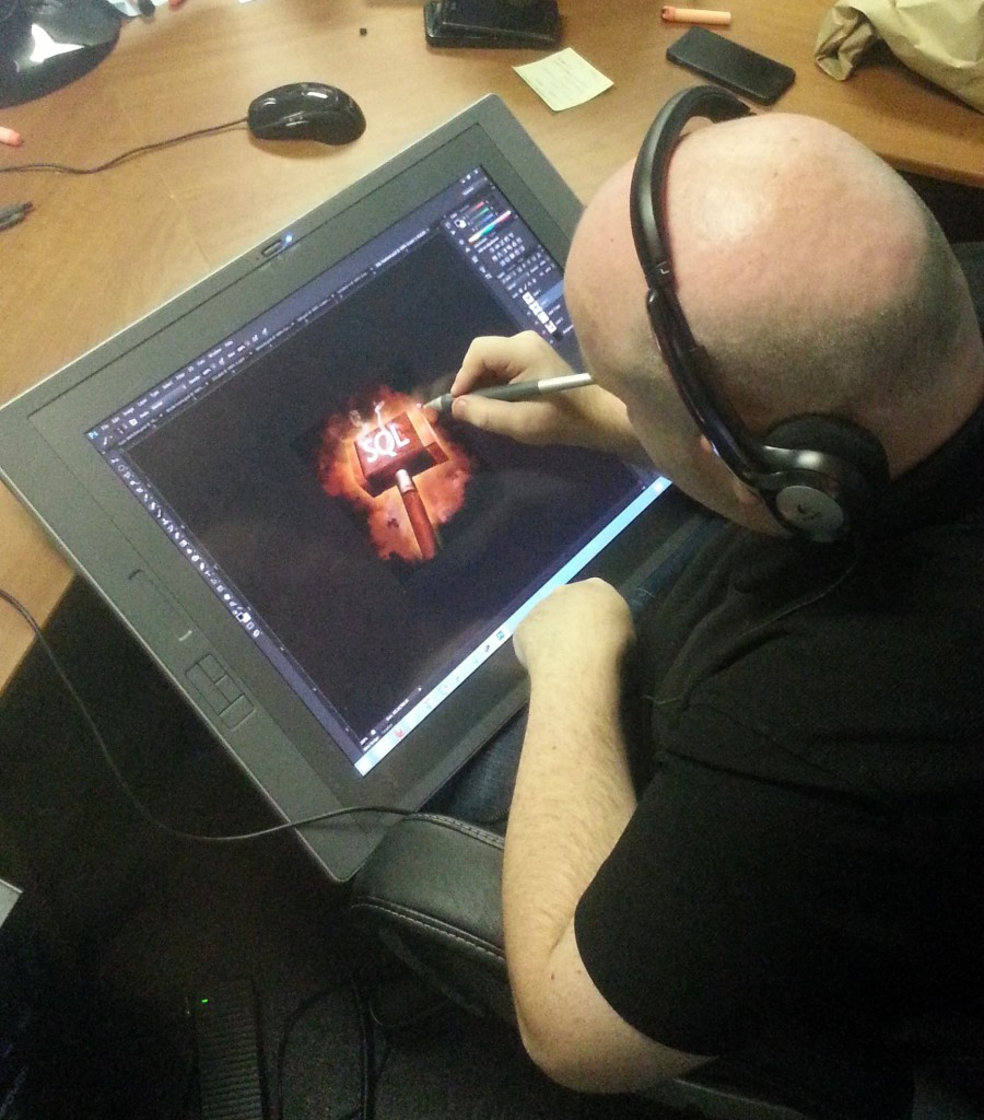 Our QA Director rolls a 20 and gets to work with his +5 Cintiq tablet.