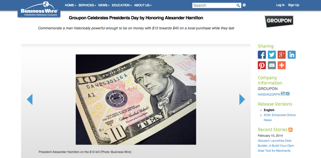 Groupon Celebrates Presidents Day by Honoring Alexander Hamilton   Business Wire