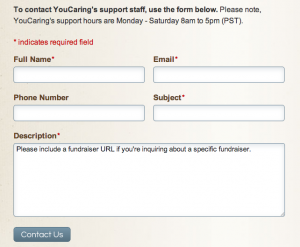 YouCaring Contact Form