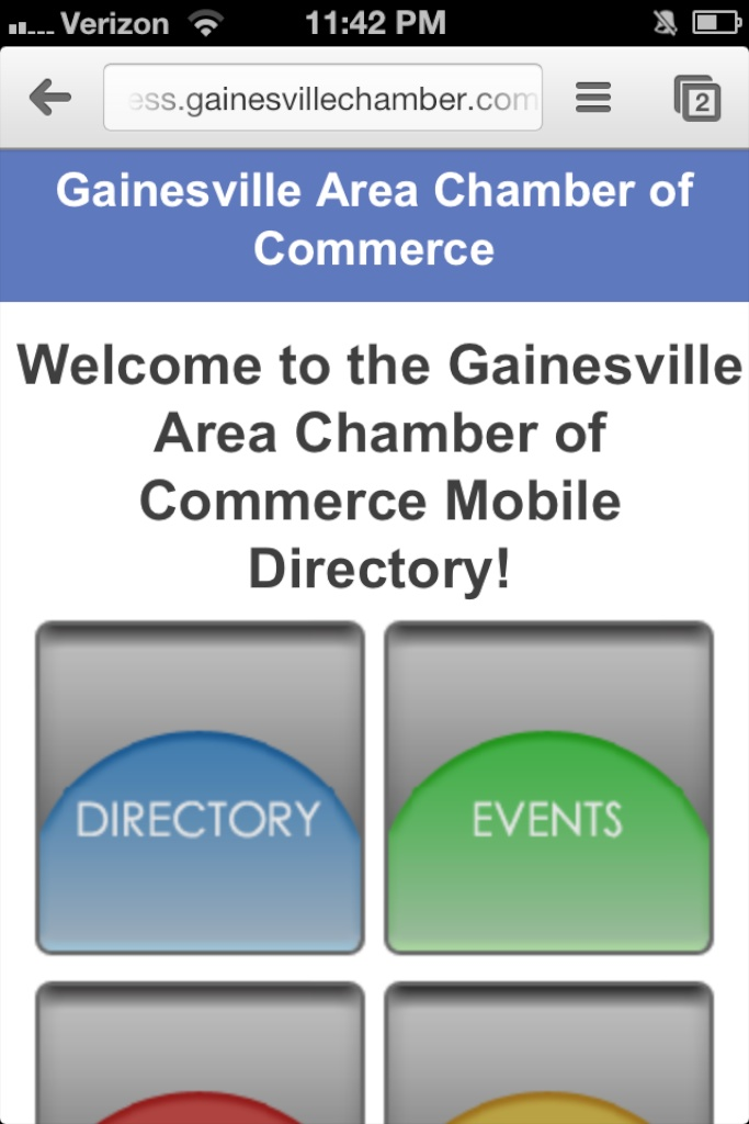 iPhone screen shot of the Innovation Gainesville mobile website