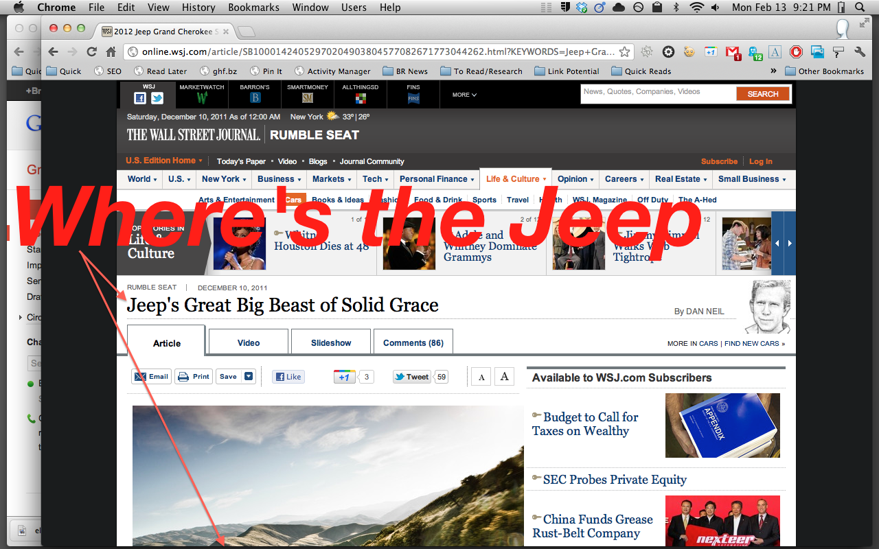 Where's the Jeep -- ooh -- look at that Porsche article